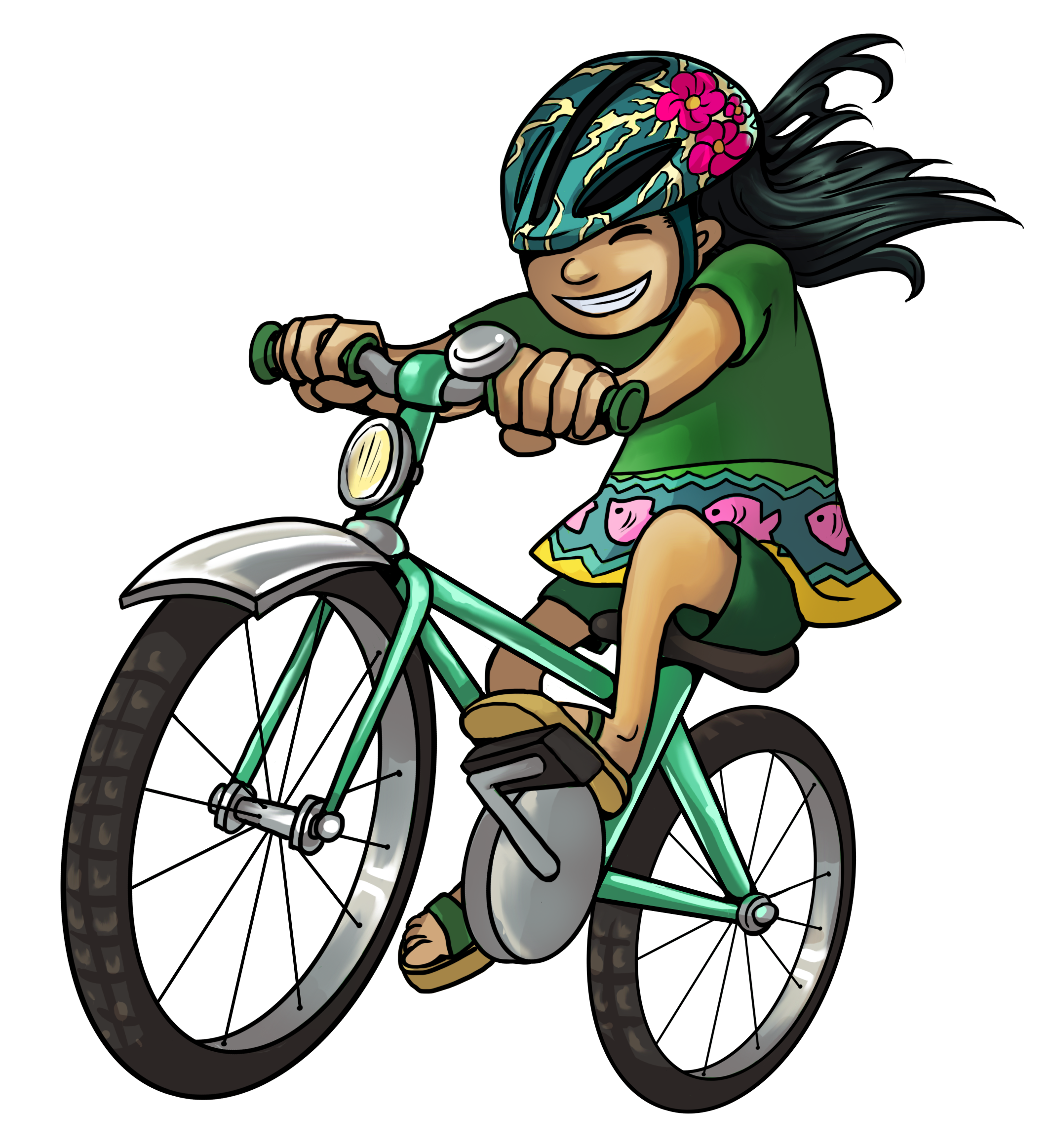 Illustration. A child is riding a bike.